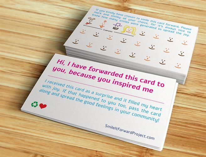20 Smile it Forward Project Cards - English USA