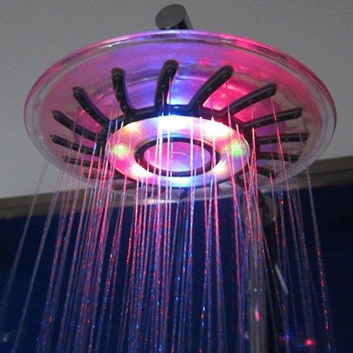 ראש מקלחת עגול עם תאורה מתחלפת