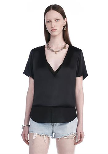 TOP CHARMEUSE BLACK